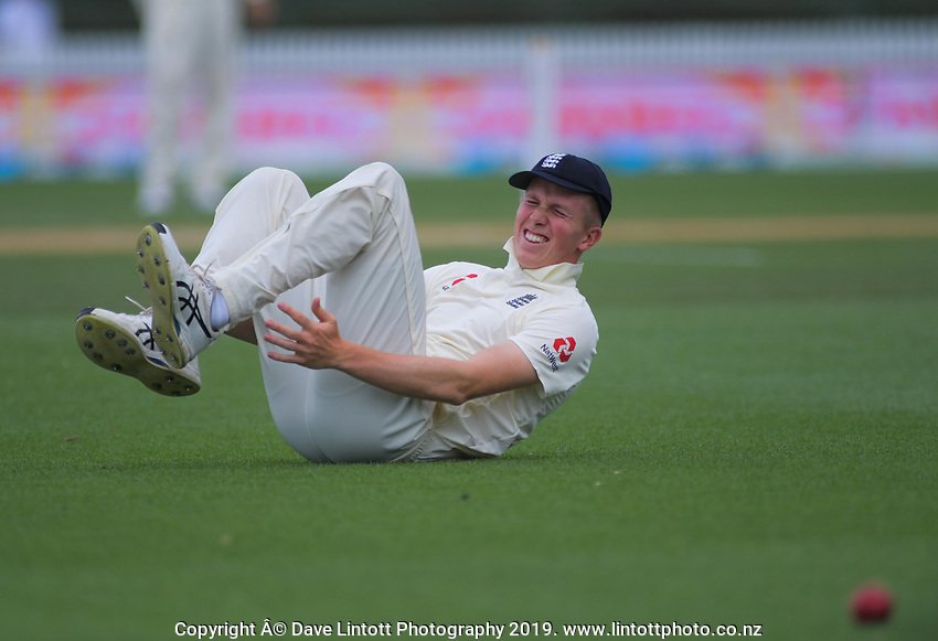 England's Zak Crawley goes down injured during day five of the international cricket 2nd test match between NZ Black Caps and England at Seddon Park in Hamilton, New Zealand on Tuesday, 3 December 2019. Photo: Dave Lintott / lintottphoto.co.nz