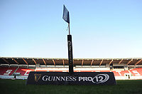 Guinness pro 12 branding <br /> <br /> Photographer Ashley Crowden/CameraSport<br /> <br /> Guinness PRO12 Round 19 - Scarlets v Benetton Treviso - Saturday 8th April 2017 - Parc y Scarlets - Llanelli, Wales<br /> <br /> World Copyright &copy; 2017 CameraSport. All rights reserved. 43 Linden Ave. Countesthorpe. Leicester. England. LE8 5PG - Tel: +44 (0) 116 277 4147 - admin@camerasport.com - www.camerasport.com