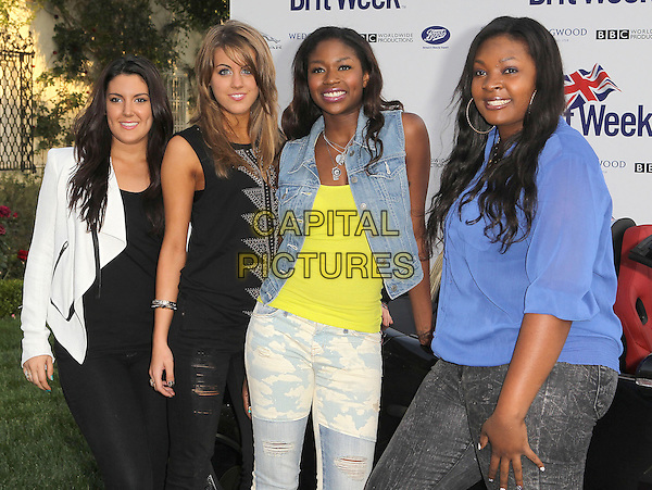 "Kree Harrison, Angie Miller, Amber Holcomb, Candice Glover.7th Annual BritWeek Festival ""A Salute To Old Hollywood"" Launch Party held at the British Consul General's Residence, Los Angeles, California, USA..April 23rd, 2013.half top length white leather jacket black blue jeans denim American Idol.CAP/ADM/KB.©Kevan Brooks/AdMedia/Capital Pictures"