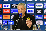 08.12.2018, Veltins-Arena, Gelsenkirchen, GER, 1. FBL, FC Schalke 04 vs. Borussia Dortmund, DFL regulations prohibit any use of photographs as image sequences and/or quasi-video<br /> <br /> im Bild Lucien Favre (Borussia Dortmund) in der Pressekonferenz<br /> <br /> Foto © nordphoto/Mauelshagen