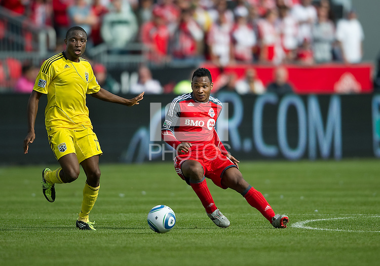 23 April 2011: Columbus Crew midfielder Emmanuel Ekpo #17 and Toronto FC midfielder Julian de Guzman #6 in action during a game between the Columbus Crew and the Toronto FC at BMO Field in Toronto, Ontario Canada..The game ended in a 1-1 draw.