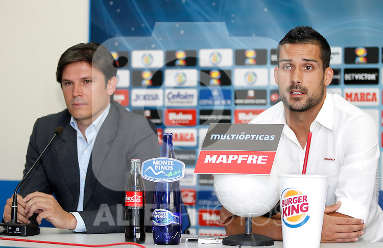 Getafe's general manager Toni Munoz new player Miguel Angel Moya during his official presentation. June 15, 2011. (ALTERPHOTOS/Alvaro Hernandez)