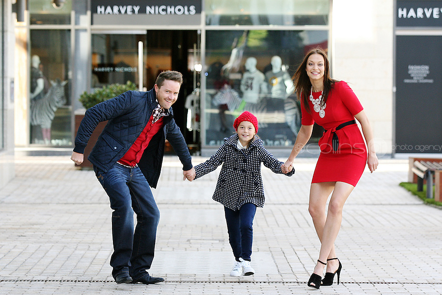 31/8/2010. Dundrum Town Center preview Autumn Winter 2010 Collection. Model Irma is pictured wearing a Dress from Coast EUR120, Necklase Lk Bennett EUR120, Shoes from Zara ¶ª, Joe wears Jacket House of Frasier, EUR140, Cardigan EUR95, Jeans Bertoni EUR100 and Nikoleta wears Coat from Monsoon, EUR99, Top Monsoon, EUR18.50 hat ¡5,jeans EUR26 at the Dundrum Town Centre . Picture James Horan/Collins