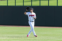 Glendale Desert Dogs right fielder Connor Marabell (4), of the Cleveland Indians organization, prepares to catch a fly ball during an Arizona Fall League game against the Scottsdale Scorpions at Camelback Ranch on October 16, 2018 in Glendale, Arizona. Scottsdale defeated Glendale 6-1. (Zachary Lucy/Four Seam Images)