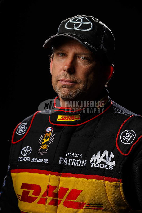 Feb 10, 2016; Pomona, CA, USA; NHRA funny car driver Del Worsham poses for a portrait during media day at Auto Club Raceway at Pomona. Mandatory Credit: Mark J. Rebilas-USA TODAY Sports