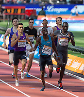 Nijel AMOS (BOT) wins the 800m in a time of 1.44.57 with David RUDISHA of Kenya in 2nd during the Sainsbury's Anniversary Games, Athletics event at the Olympic Park, London, England on 25 July 2015. Photo by Andy Rowland.