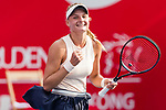 Dayana Yastremska of Ukraine celebrates after winning the singles quarter final match against Kristina Kucova of Slovakia at the WTA Prudential Hong Kong Tennis Open 2018 at the Victoria Park Tennis Stadium on 12 October 2018 in Hong Kong, Hong Kong.