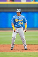 Jorge Alfaro (24) of the Myrtle Beach Pelicans takes his lead off of second base against the Winston-Salem Dash at BB&T Ballpark on May 7, 2014 in Winston-Salem, North Carolina.  The Pelicans defeated the Dash 5-4 in 11 innings.  (Brian Westerholt/Four Seam Images)