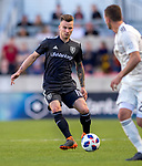 Real Salt Lake midfielder Albert Rusnak (11) controls the ball in the first half Saturday, April 21, 2018, during the Major League Soccer game at Rio Tiinto Stadium in Sandy, Utah. RSL beat the Colorado Rapids 3-0. (© 2018 Douglas C. Pizac)