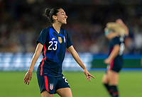 ORLANDO, FL - MARCH 05: Christen Press #23 of the United States celebrates during a game between England and USWNT at Exploria Stadium on March 05, 2020 in Orlando, Florida.