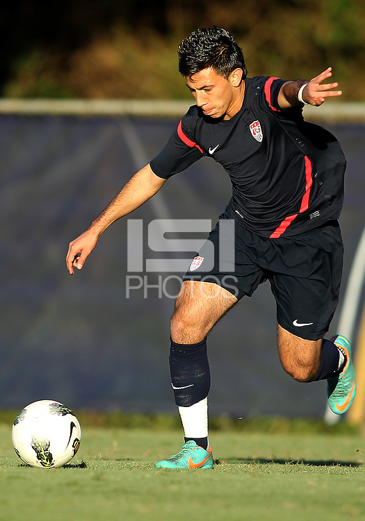 MIAMI, FL - DECEMBER 21, 2012:  Mikey Lopez of the USA MNT U20 during a closed scrimmage with the Venezuela U20 team, on Friday, December 21, 2012, At the FIU soccer field in Miami.  USA won 4-0.