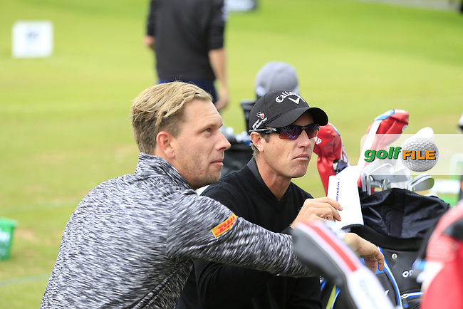 Marcel Siem (GER) sporting a new hair style chats with Nicolas Colsaerts (BEL) during Wednesday's Pro-Am of the 2016 Dubai Duty Free Irish Open hosted by Rory Foundation held at the K Club, Straffan, Co.Kildare, Ireland. 18th May 2016.<br /> Picture: Eoin Clarke | Golffile<br /> <br /> <br /> All photos usage must carry mandatory copyright credit (&copy; Golffile | Eoin Clarke)
