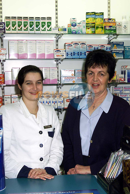 Ingrid Sallier, pharmacist/manager and Kitty Cassidy at Cabe's Pharmacy, Peter Street.Picture: Paul Mohan/Newsfile