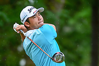 Hideki Matsuyama (JPN) watches his tee shot on 5 during Friday's round 2 of the PGA Championship at the Quail Hollow Club in Charlotte, North Carolina. 8/11/2017.<br /> Picture: Golffile | Ken Murray<br /> <br /> <br /> All photo usage must carry mandatory copyright credit (&copy; Golffile | Ken Murray)