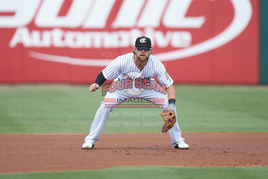 Charlotte Knights third baseman Trey Michalczewski (18) on defense against the Gwinnett Braves at BB&T BallPark on July 14, 2019 in Charlotte, North Carolina.  The Stripers defeated the Knights 5-4. (Brian Westerholt/Four Seam Images)
