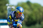 SITTARD, NETHERLANDS - AUGUST 16: Jonas Aaen Joergensen of Denmark riding for Saxo-Tinkoff competes during stage 5 of the Eneco Tour 2013, a 13km individual time trial from Sittard to Geleen, on August 16, 2013 in Sittard, Netherlands. (Photo by Dirk Markgraf/www.265-images.com)