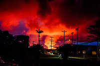 PAHOA, HI - June 2, 2018:  The glow of Hawaii's Kilauea Volcano seen from around Pahoa in Pahoa, HI on June 2, 2018. <br /> CAP/MPI/EKP<br /> &copy;EKP/MPI/Capital Pictures