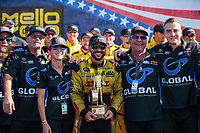 Sep 3, 2018; Clermont, IN, USA; NHRA funny car driver J.R. Todd celebrates with crew after winning the US Nationals at Lucas Oil Raceway. Mandatory Credit: Mark J. Rebilas-USA TODAY Sports