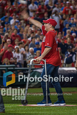 6 October 2017: United States House of Representatives Majority Whip Steve Scalise takes to the Washington Nationals infield to throw out the ceremonial first pitch prior to the NLDS Game 1 against the Chicago Cubs at Nationals Park in Washington, DC. The Cubs shut out the Nationals 3-0 to take a 1-0 lead in their best of five Postseason series. Mandatory Credit: Ed Wolfstein Photo *** RAW (NEF) Image File Available ***
