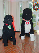 """The 2016 White House Christmas decorations are previewed for the press at the White House in Washington, DC on Tuesday, November 29, 2016. Pictured are larger than life replicas of the Obama dogs Sunny and Bo, made of 25,000 yarn pom-poms.  The first lady's office released the following statement to describe those decorations, """"This year's holiday theme, 'The Gift of the Holidays,' reflects on not only the joy of giving and receiving, but also the true gifts of life, such as service, friends and family, education, and good health, as we celebrate the holiday season.""""<br /> Credit: Ron Sachs / CNP"""