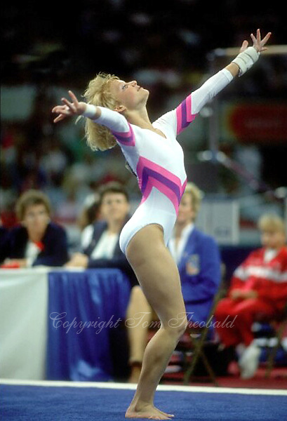 Kristie Phillips of USA performs on floor exercise at 1988 US Olympic Trials at Salt Lake City, Utah in June of 1988.  Photo by Tom Theobald.
