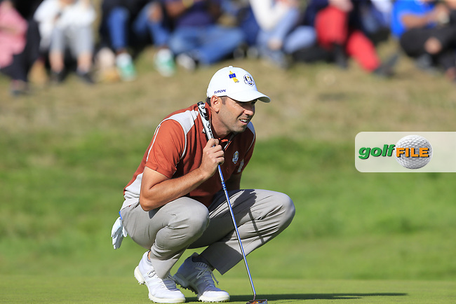 Sergio Garcia (Team Europe) on the 9th green during Saturday's Foursomes Matches at the 2018 Ryder Cup 2018, Le Golf National, Ile-de-France, France. 29/09/2018.<br /> Picture Eoin Clarke / Golffile.ie<br /> <br /> All photo usage must carry mandatory copyright credit (© Golffile   Eoin Clarke)