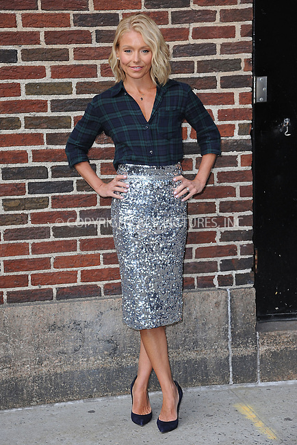 WWW.ACEPIXS.COM <br /> April 2, 2015 New York City<br /> <br /> Kelly Ripa after taping an appearance on the Late Show with David Letterman on April 2, 2015 in New York City.<br /> <br /> Please byline: Kristin Callahan/ACE Pictures  <br /> <br /> ACEPIXS.COM<br /> Ace Pictures, Inc<br /> tel: (212) 243 8787 or (646) 769 0430<br /> e-mail: info@acepixs.com<br /> web: http://www.acepixs.com