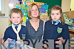 Junior infants in Tiernaboul National School, Killarney Cathal Kelly and Fiona O'Leary pictured with their teacher Orlaith O'Sullivan on Friday.