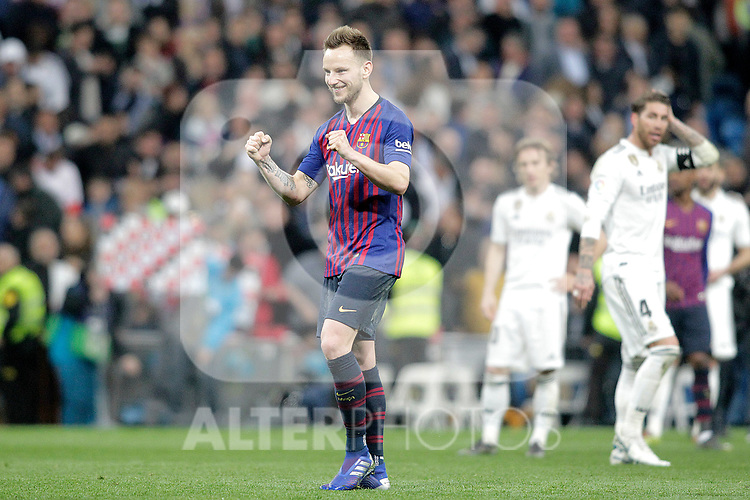 FC Barcelona's Ivan Rakitic celebrates victory during La Liga match. March 02,2019. (ALTERPHOTOS/Alconada)