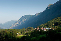 Dreznica in the Soca Valley on the western side of Mount Krn, near Kobarid in Slovenia