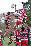 Andrew McConchie beats Kolo Vea to the ball at lineout time. Counties Manukau Club rugby Premier game between Drury and Karaka played at Drury on Saturday May 1st, 2010. Karaka won the game 32 -12 after leading 25 - 7.