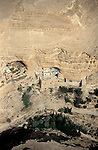 Jidean desert, an aerial view of the Greek Orthodox St. George Monastery in Wadi Qelt