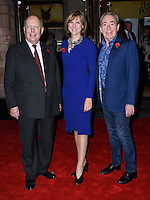LONDON, ENGLAND - OCT 31: Lord Julian Fellowes, Fiona Bruce, Lord Andrew Lloyd Webber at the Sixth annual awards celebrating the efforts of local people fighting to saving heritage areas and historic sites under threat at Palace Theatre on October 31st, 2016 in London, England.<br /> CAP/JOR<br /> &copy;JOR/Capital Pictures /MediaPunch ***NORTH AND SOUTH AMERICA ONLY***