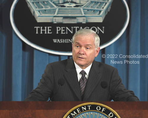 United States Secretary of Defense Robert M. Gates announces to reporters in the Pentagon briefing room that he has accepted the resignation of Secretary of the Army Francis J. Harvey on March 2, 2007.  Gates told reporters that later today, the Army will name a new permanent commander for the Walter Reed Army Medical Center.  Gates also announced that Under Secretary of the Army Pete Geren will be Acting Secretary until a replacement for Harvey is confirmed.<br /> Credit: DoD via CNP