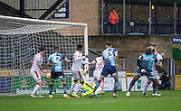 Adebayo Akinfenwa of Wycombe Wanderers scores the first goal during the Sky Bet League 2 match between Wycombe Wanderers and Crawley Town at Adams Park, High Wycombe, England on 25 February 2017. Photo by Andy Rowland / PRiME Media Images.
