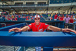 28 February 2017: Washington Nationals Hitting Coach Rick Schu stands in the dugout prior to the inaugural Spring Training game against the Houston Astros at the Ballpark of the Palm Beaches in West Palm Beach, Florida. The Nationals defeated the Astros 4-3 in Grapefruit League play. Mandatory Credit: Ed Wolfstein Photo *** RAW (NEF) Image File Available ***