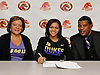 Tori Harris of Half Hollow Hills West High School poses for a portrait with her mother, Lisa Harris and father, Torrel Harris inside the school after signing a letter of intent to play NCAA women's basketball at James Madison University on Wednesday, Nov. 9, 2016. Tori is the younger sister of NBA player and fellow Hills West alumnus Tobias Harris.