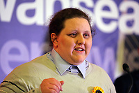 Pictured: Liberal Democrat candidate Charley Hasted. Friday 09 June 2017<br /> Re: Counting of ballots at Brangwyn Hall for the general election in Swansea, Wales, UK