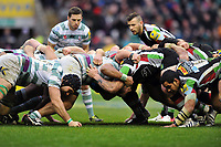 The London Irish and Harlequins packs engage in a scrum. Big Game 5 Aviva Premiership match, between Harlequins and London Irish on December 29, 2012 at Twickenham Stadium in London, England. Photo by: Patrick Khachfe / Onside Images