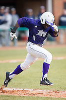 Josh Greene (1) of the High Point Panthers hustles down the first base line against the UNCG Spartans at Willard Stadium on February 14, 2015 in High Point, North Carolina.  The Panthers defeated the Spartans 12-2.  (Brian Westerholt/Four Seam Images)