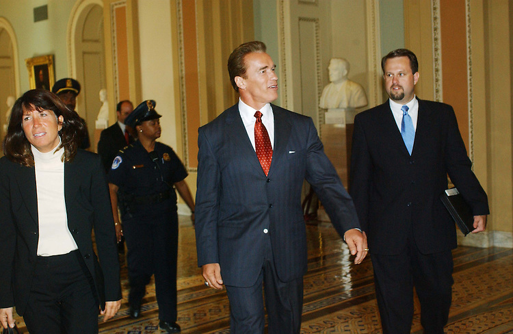 10/29/03.CALIFORNIA GOVERNOR-ELECT--California Governor-elect Arnold Schwarzenegger arrives for a meeting and photo opp with Senate Appropriations Chairman Ted Stevens, R-Alaska, and Senate Majority Leader Bill Frist, R-Tenn. The meeting was in Frist's office. Schwarzenegger also met with the California congressional delegation..CONGRESSIONAL QUARTERLY PHOTO BY SCOTT J. FERRELL
