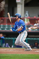 Hartford Yard Goats shortstop Brendan Rodgers (2) hits a double in the top of the first inning during a game against the Erie SeaWolves on August 6, 2017 at UPMC Park in Erie, Pennsylvania.  Erie defeated Hartford 9-5.  (Mike Janes/Four Seam Images)