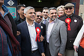 Sadiq Khan, Labour party candidate for Mayor of London, with Councillor Muhammed Butt, leader of Brent Council, Kilburn.