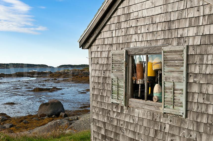 Rustic fishing shack, Jonesport, ME, Maine, USA