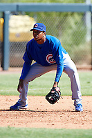Chicago Cubs minor league third baseman Jeimer Candelario #12 during an instructional league game against the Colorado Rockies at the Salt River Flats Complex on October 13, 2012 in Scottsdale, Arizona.  (Mike Janes/Four Seam Images)