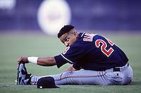 Manny Ramirez of the Cleveland Indians at Anaheim Stadium in Anaheim,California during the 1996 season. (Larry Goren/Four Seam Images)
