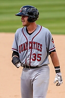 Quad Cities River Bandits first baseman Seth Beer (35) leads off first base during a Midwest League game against the Kane County Cougars on July 1, 2018 at Northwestern Medicine Field in Geneva, Illinois. Quad Cities defeated Kane County 3-2. (Brad Krause/Four Seam Images)