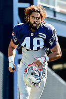 August 1, 2017: New England Patriots linebacker Harvey Langi (48) makes his way to the practice field at the New England Patriots training camp held at Gillette Stadium, in Foxborough, Massachusetts. Eric Canha/CSM
