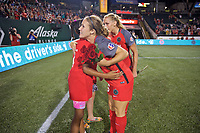 Portland, OR - Saturday July 22, 2017: Mallory Weber and the Girls of the Game after a regular season National Women's Soccer League (NWSL) match between the Portland Thorns FC and the Washington Spirit at Providence Park.