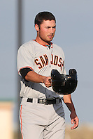 Blake Miller #33 of the San Jose Giants during a game against the Lancaster JetHawks at The Hanger on May 3, 2014 in Lancaster, California. San Jose defeated Lancaster, 5-4. (Larry Goren/Four Seam Images)